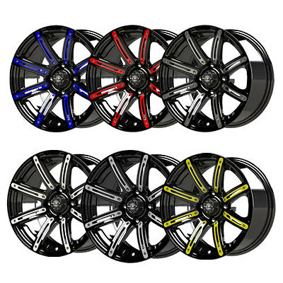 """14"""" Illusion Black w/ Colored Inserts Golf Cart Wheels with 23"""" ALL TERRAIN"""