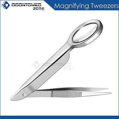 Tweezer With Magnifying Glass Loupe Magnifier Silver Stainless Steel Instruments