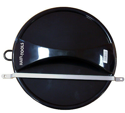 HAIR TOOLS 29cm Black Round Mirror & Wall Mount Bracket - Handle 25cm View Area