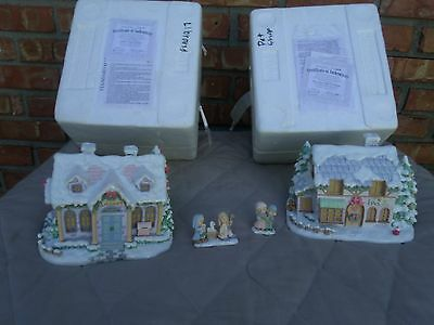 LOT OF 2 Precious Moments Hawthorne Village Lighted  COA'S