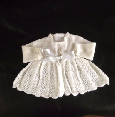 Handmade Knitted baby Girl Matinee Coat White Wool Ribbon Buttons Vintage  0-3