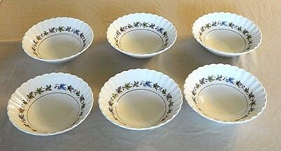 6 Cereal/salad Bowls - J & G Meakin England – Woodland Classic White Pattern