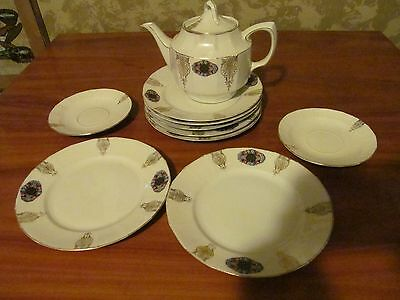 """Vintage GESCHUTZT Set of 6 7 1/2"""" Plates Tea Pot White Made in Germany"""