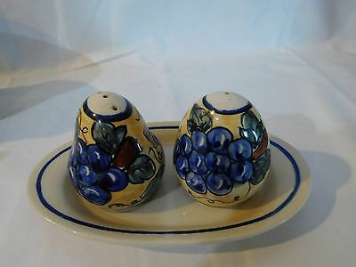 Boleslawiec pottery grapes pattern salt and pepper shakers and bell