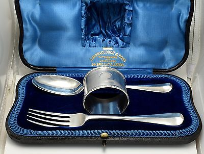 Antique Cased Silver Spoon, Fork & Napkin Ring Christening Set Hm London 1909