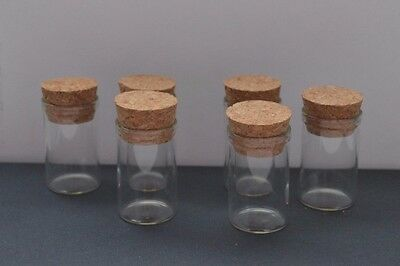 6 7ml glass test tube bottles cork topped small storage 22mm x 40mm