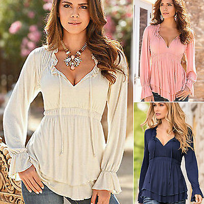 Women Boho V Neck Long Sleeve Tee Ladies Loose Peplum Tops T Shirts Tunic Blouse
