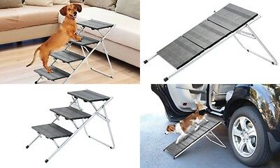 Pet Stairs Ramp 3 or 4 Steps Dog Cat Ladder Folds Step Stairway Staircase Metal