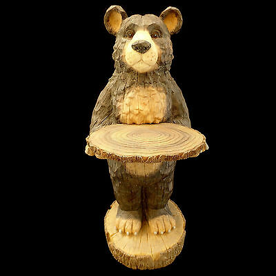 Faux-Wood Black Bear Butler Table / Lodge & Cabin Decor / Large 2+ Foot Size!