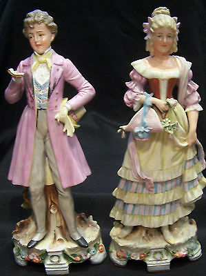 "GRAFENTHAL UNGER SCHNEIDER FIGURINE COUPLE Germany 1850-1899(Lady ""as-is"")"