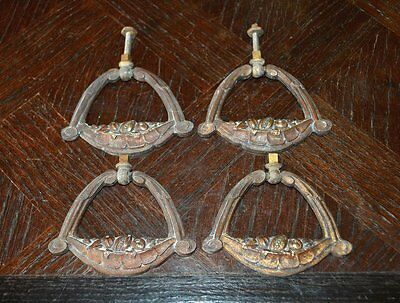 Antique French Set of 4 Bronze Drawer Pulls Handles Fruit Basket Design