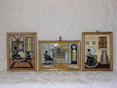 Vintage 3-D Advertising Thermometers, Reverse Painting on Glass, Set of Three
