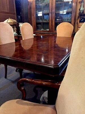 "Chinese Chippendale Style Table 6 Fitted Chairs 6' 3"" Mahogany 2 Leaves 21"" Each"