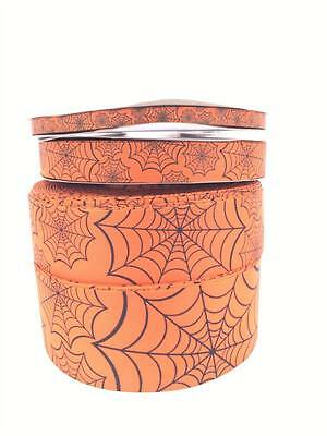 "Halloween Orange Spiders Web 3""  2"" 1"" 3/8 75mm 50mm 25mm 9mm Grosgrain Ribbon"