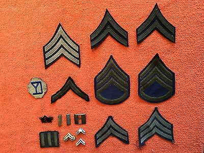 Vintage Lot Of 7 Wwii Us Military Pins & 10 Patches