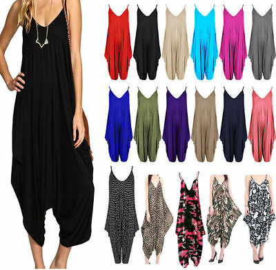 NEW Women's Ladies V-neck All In One Summer Beach Harem Jumpsuit Play-suit Top