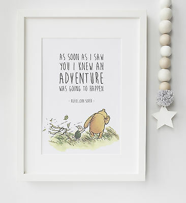Personalised Winnie the Pooh Quote Birth Baby Nursery Christening Print UNFRAMED