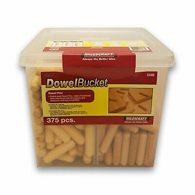 Milescraft 5346 DowelBucket Hardwood Dowels with Reusable Bucket (375-Pieces)