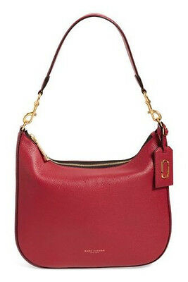 NWT $498 Marc Jacobs Large Gotham Pebbled Leather Hobo Bag  Color Merlot