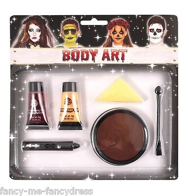 6 Pezzi Zombie Make Up Sangue Finto Pittura Viso Costume Halloween Kit