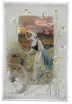 1891 Lion Coffee Midsummer Greeting Victorian Trade Card Woolson Spice
