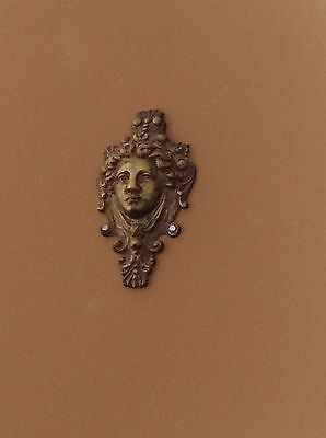 """Antique Neo Classical  Woman's Face Fine Cast Brass Head Furniture Wall Mount 4"""""""