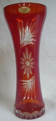 """Badash Crystal Hand Cut Red to Clear 10 3/4"""" Vase"""