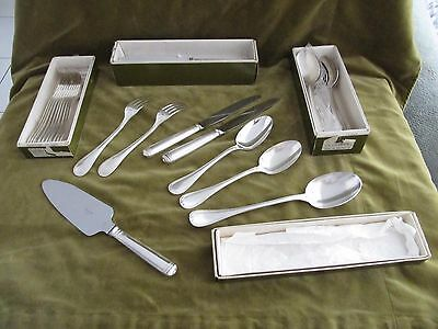 vintage french silver-plate 12 soup spoons 12 dinner forks christofle Malmaison