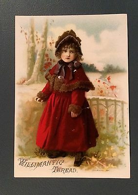 Victorian Trade Cards, Willimantic Thread, Girl in Victorian Red Coat, 1800's