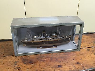 Vintage PASSENGER LINER Boat Ship Model In Display Case