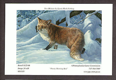 Pa Penna Pennsylvania Game Commission Red Fox collectible Lithograph Print Card