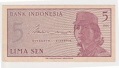 (H62-59) 1964 Indonesia 5 SEN bank note (F)