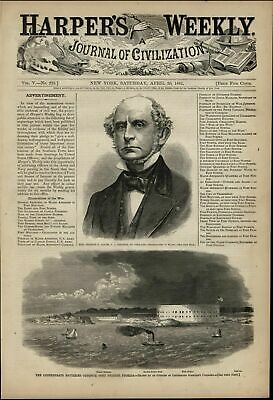 Confederate Batteries Opposite Fort Pickens FL 1861 great old print for display