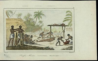 Human Sacrifice Skulls Natives Drumming scarce 1863 old hand color view print
