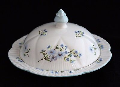 SHELLEY BLUE ROCK FLOWERS DAINTY Butter Covered Dish Muffin Cheese