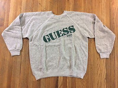 Vintage 1980s GUESS Mens Georges Marciano Spell Out Gray Sweatshirt Sweater M/L