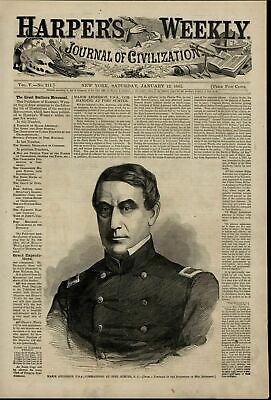 Major Anderson Commanding at Fort Sumter 1861 great old print for display