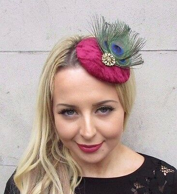 Burgundy Wine Red Green Peacock Feather Pillbox Hat Fascinator Hair Clip 3364
