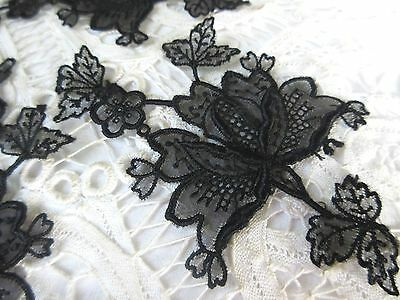 Antique Black Embroidered Lace Applique Rose Flower & Leaves Dress Trim Lot of 3