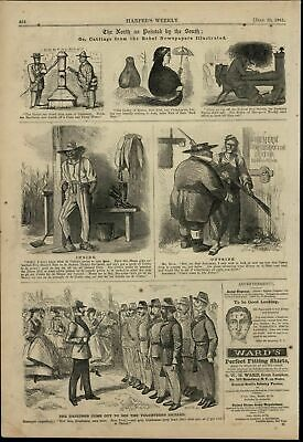 Rebel Newspaper Cartoons Images of North Yankee 1861 great old print for display