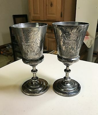 """Two Reed & Barton Silverplate Goblets 418 Antique 6.5"""" Tall Aesthetic Vintage"""