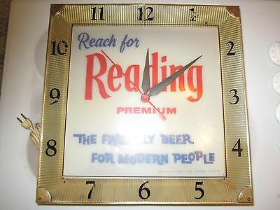 antique Reading illuminated beer clock sign