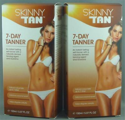 2 x 150ml SKINNY TAN 7-DAY SELF-TANNING CREAM with GUARANA Coconut Scented, SALE