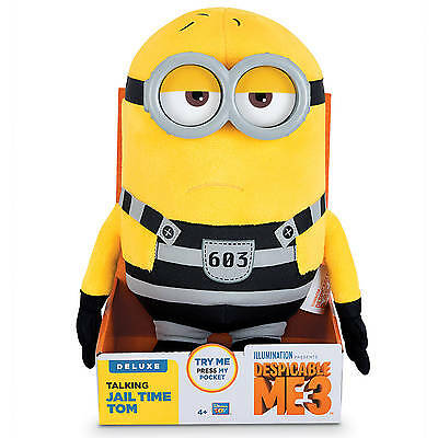 NEW! Despicable Me 3 Deluxe Talking Minions- Huggable Jail Time Tom Plush Minion