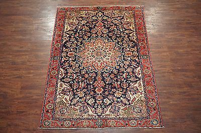 Antique 6X9 Persian Isfahan Hand-Knotted Wool Area Rug Oriental (6.5 x 9.5)