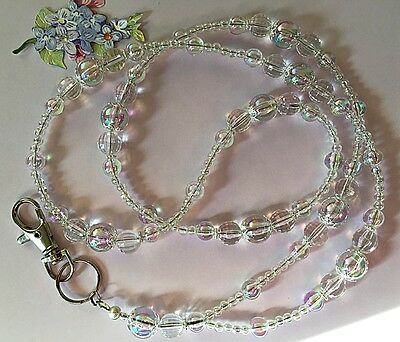 Clear Bubbles Beaded Lanyard/I.D Badge/Cruise Card/Holder