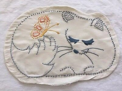 """Vintage Embroidered Cat Pillow Cover 17-1/2""""x12"""" ~ Nice!"""