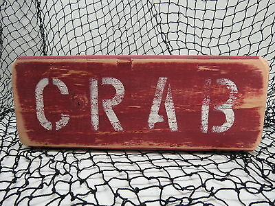 9 Inch Wood Hand Painted Crab Sign Nautical Seafood (#s774)
