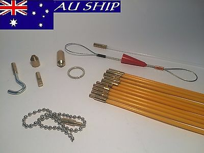 Fiberglass Rodder Cable cavity Rods Fish Tape PUSH PULL DUCT SNAKE CAB ISGM