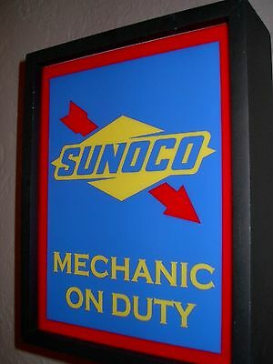 ^^Sunoco Gas Service Station Mechanic Garage Vintage Style Man Cave Lighted Sign